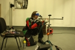 Sian training kneeling earlier this year at Bridgend